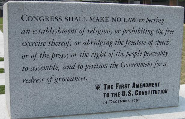 Ist Amendment of the US Constitution engraved on a stone tablet