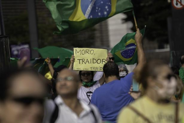 Supporters of Brazilian President Jair Bolsonaro march on May 5, 2020.