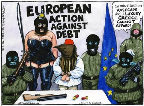 Afbeeldingsresultaat voor greece the bail out tragedy cartoon
