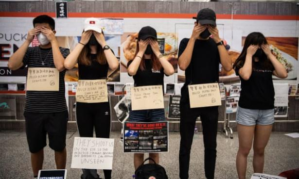 Protesters in Hong Kong international airport