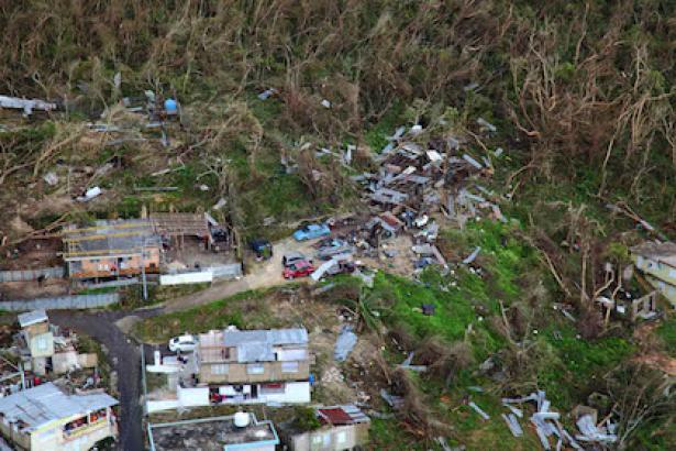 Homes suffered massive damage by Hurricane Maria's violent winds.
