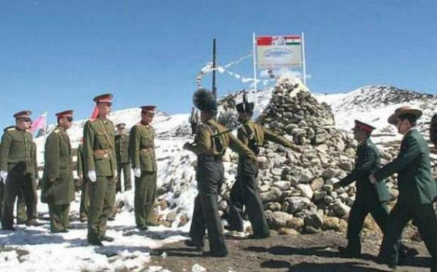 Chinese and Indian troops on the disputed border in the Himalayas.