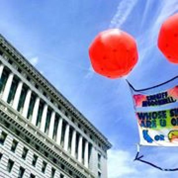 immigrant rights protest balloons