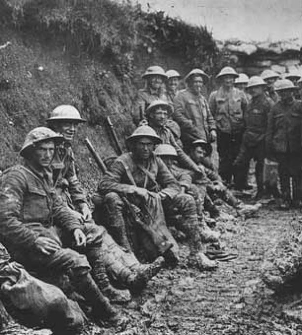 troops from WW1 in a trench
