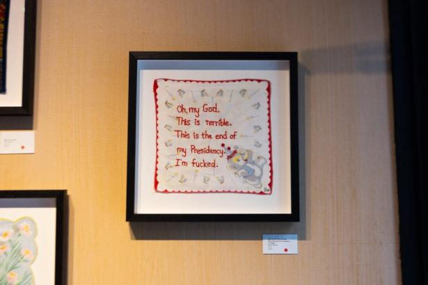 framed handkerchief with embroidery
