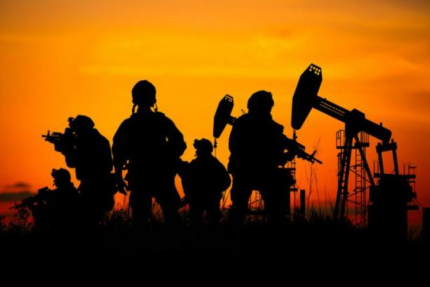 soldiers and oil wells