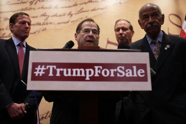 Jerry Nadler behind poster reading hashtag Trump for Sale