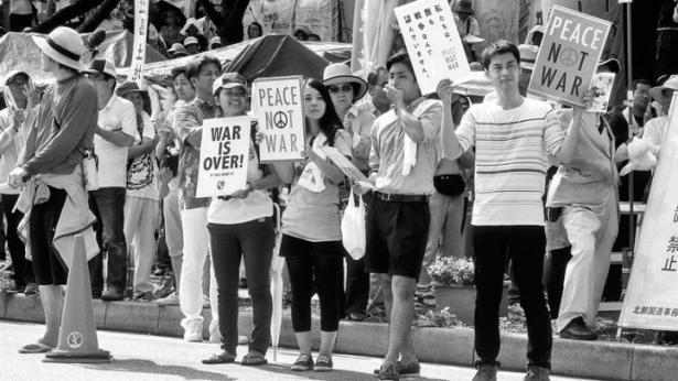 demonstrators in Okinawa