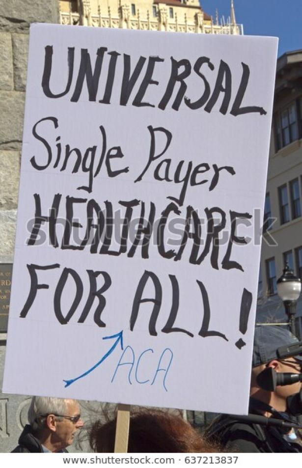 single payer picket sign