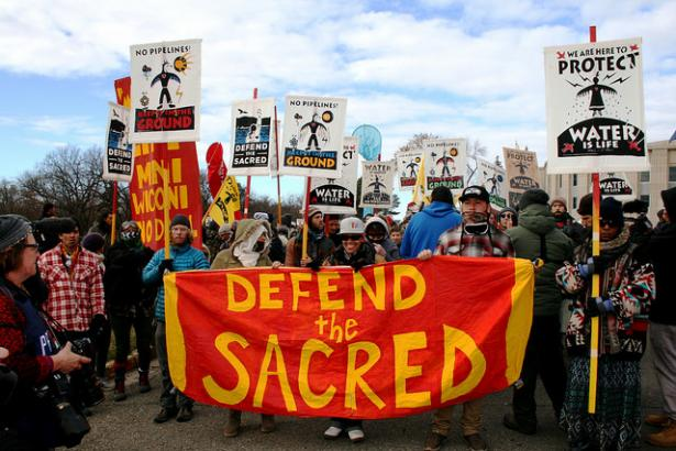 Protesters march against the Dakota Access pipeline.