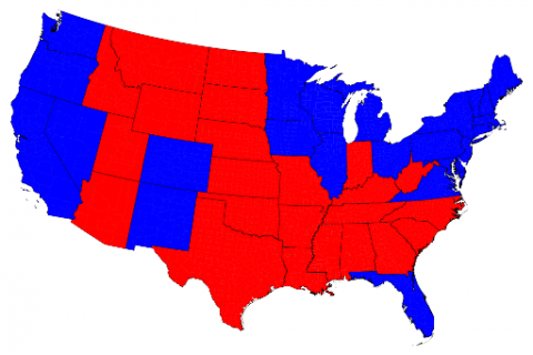 Red States Blue States Sized By People Portside - Map of red and blue states