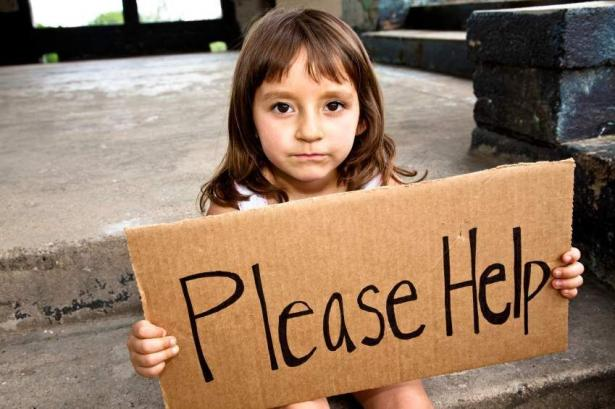 "young girl holding cardboard sign ""Please Help"""