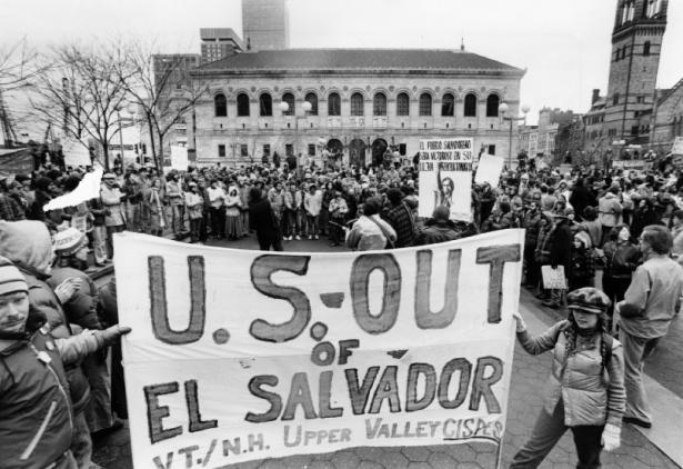 demonstration in solidarity with El Salvador
