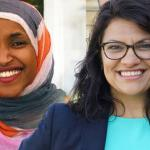 Ilhan Omar (l), and Rashida Tlaib, the first Muslim women elected to the US Congress.