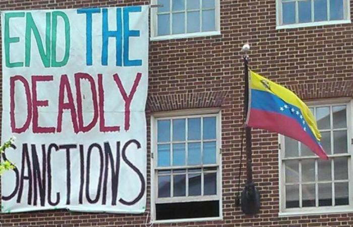 banner about deadly sanction