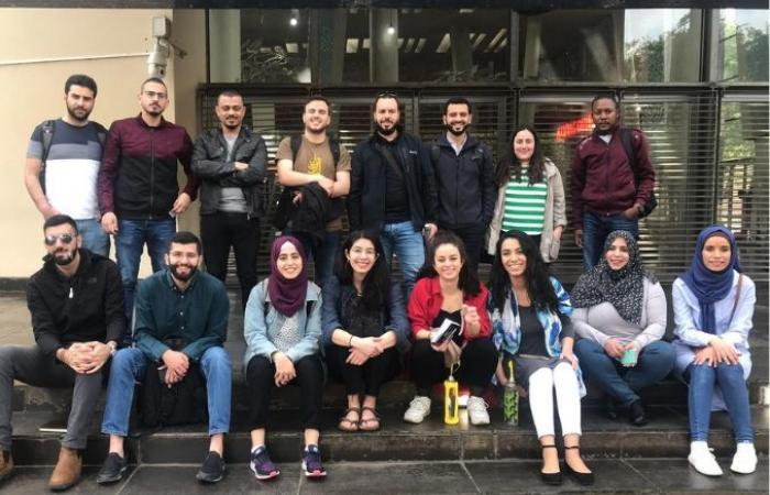 group photo of Palestinian youth organizers