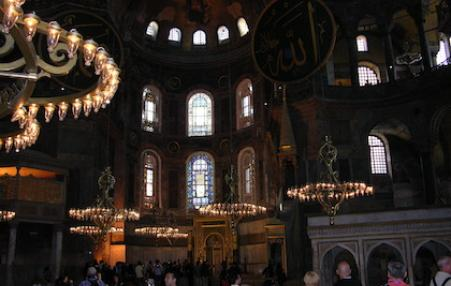 Visitors inside Hagia Sophia.