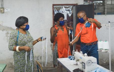 Making masks in Haiti