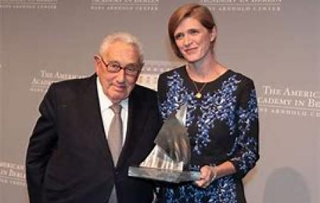 The Obama Administration's UN Ambassador Samantha Power, with Henry Kissinger.