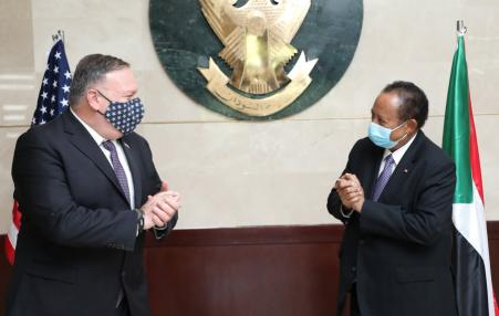 US Secretary of State Mike Pompeo and Sudanese Prime Minister Abdullah Hamduok.