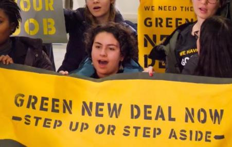 Sunrise Movement activists protesting for a Green New Deal.