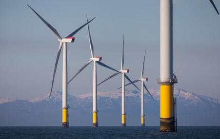Wind turbines of the Duddon Sands offshore windfarm in the Irish Sea.