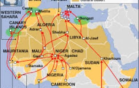 map of key migrant routes in North Africa to EU