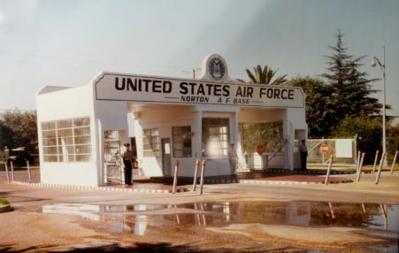 old photo of entrance to abandoned air base in California