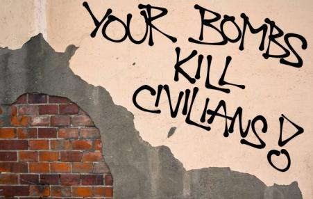"graphic ""your bombs kills civilians!"""