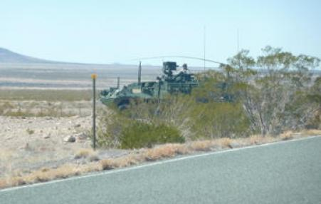 military tank at the US-Mexico borderl