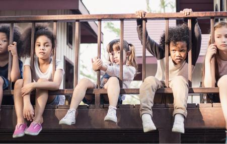 Children sitting on a balcony