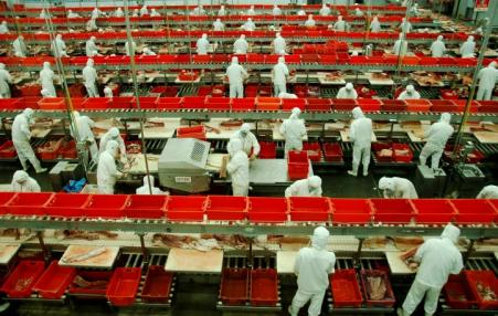 Workers at an Apple factory in China.