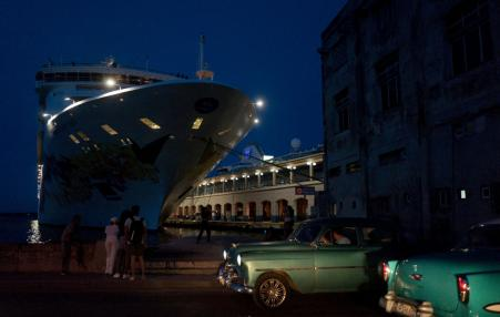 cruise ship docked in Cuba