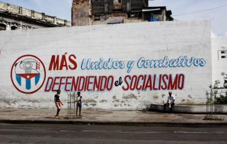 slogan painted on wall in Cuba