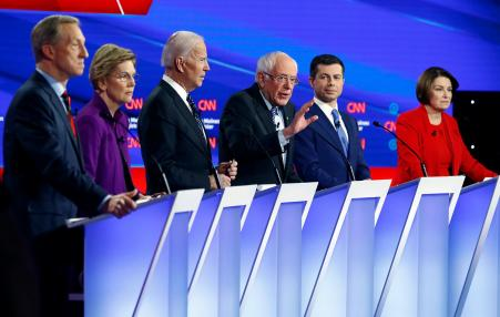 The six qualifying Democratic Party Presidential candidates at the January 14 Iowa debate.