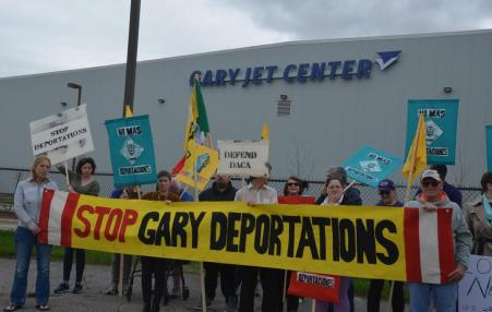 demonstration against deportations in Gary, Indiana.