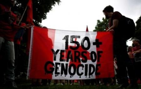 "Banner ""150 years+ Genocide"""