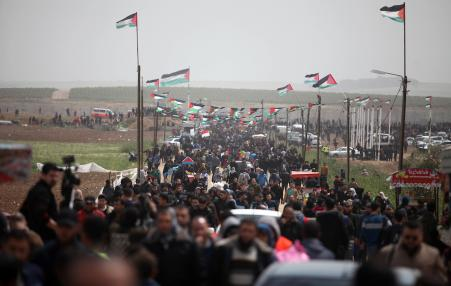crowds of Palestinian demonstrators