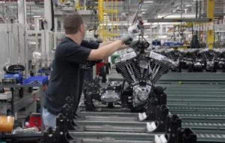Harley Davidson worker in Missouri plant.