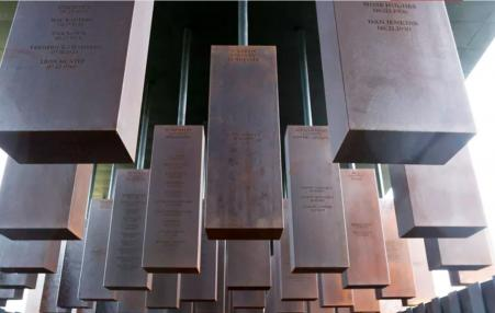 800 six-foot steel columns that symbolize the victims