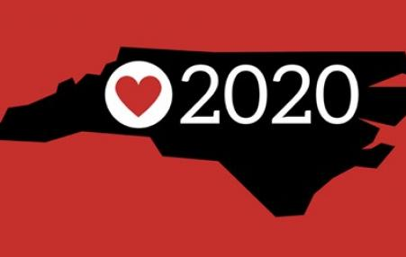 outline of North Carolina with heart and 2020
