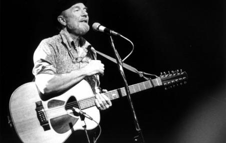 Pete Seeger with guitar