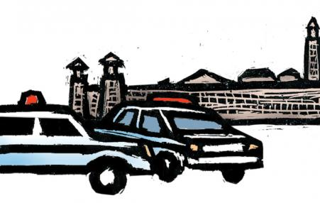 drawing of police cars