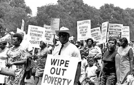 Placard reads 'Wipe Out Poverty' at 1968 Poor People's Campaign