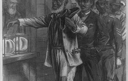graphic showing casting of first vote by Black man during Reconstruction