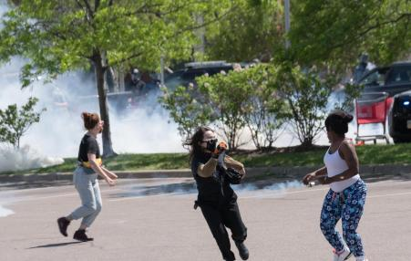 peaceful protesters gased with tear gas by police