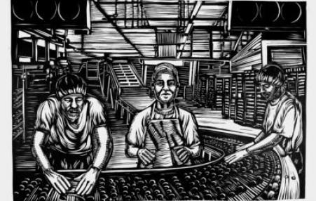 Drawing of women working  in a factory